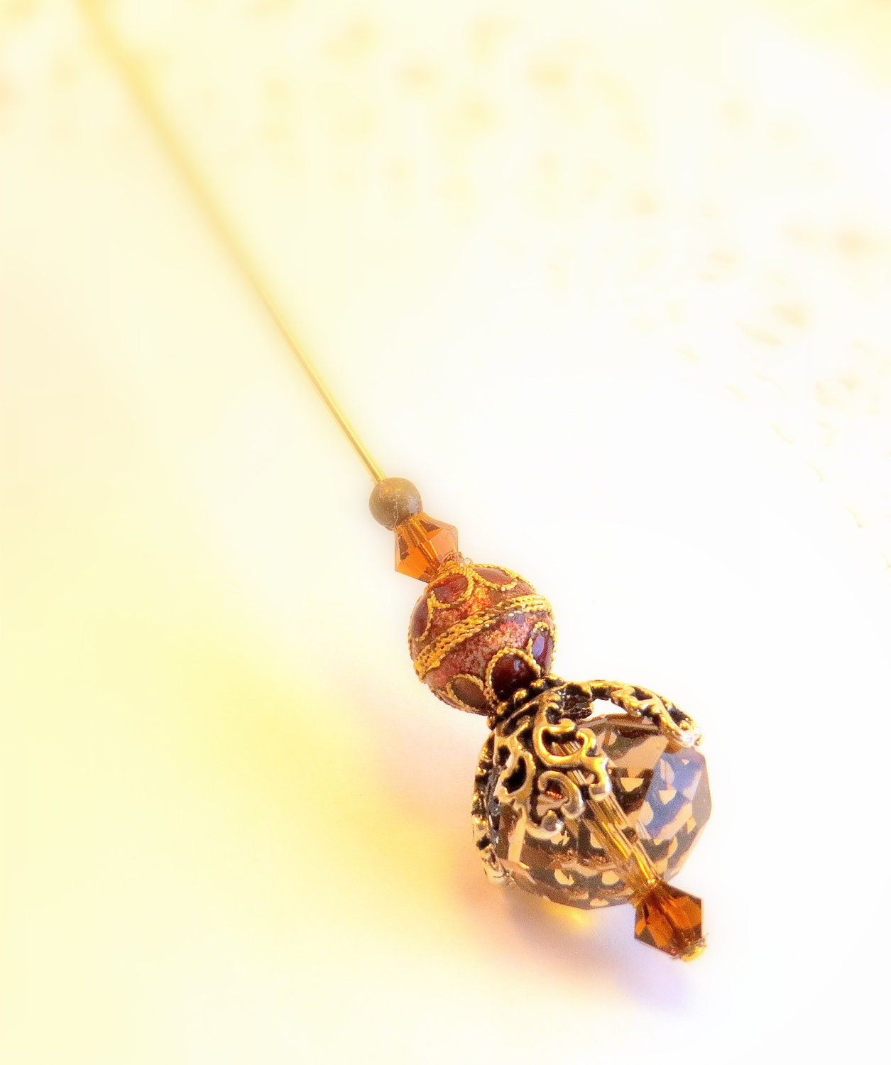 chagne beaded hat pin womens by