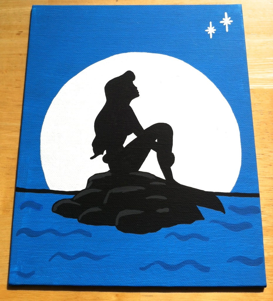 Items similar to Little Mermaid Silhouette on Canvas Panel ...
