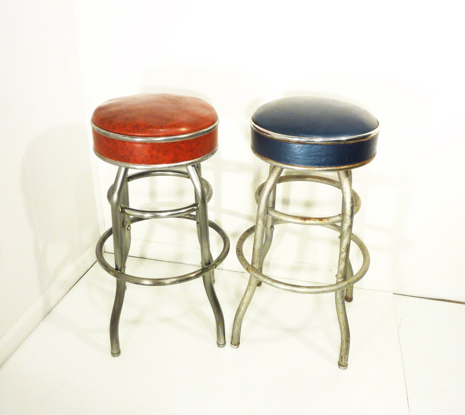 Cosco Chippy Red Metal Kitchen Cart Movable Painted Vintage: Retro 50s Vintage Cosco Bar Stool Two Available By Gillardgurl