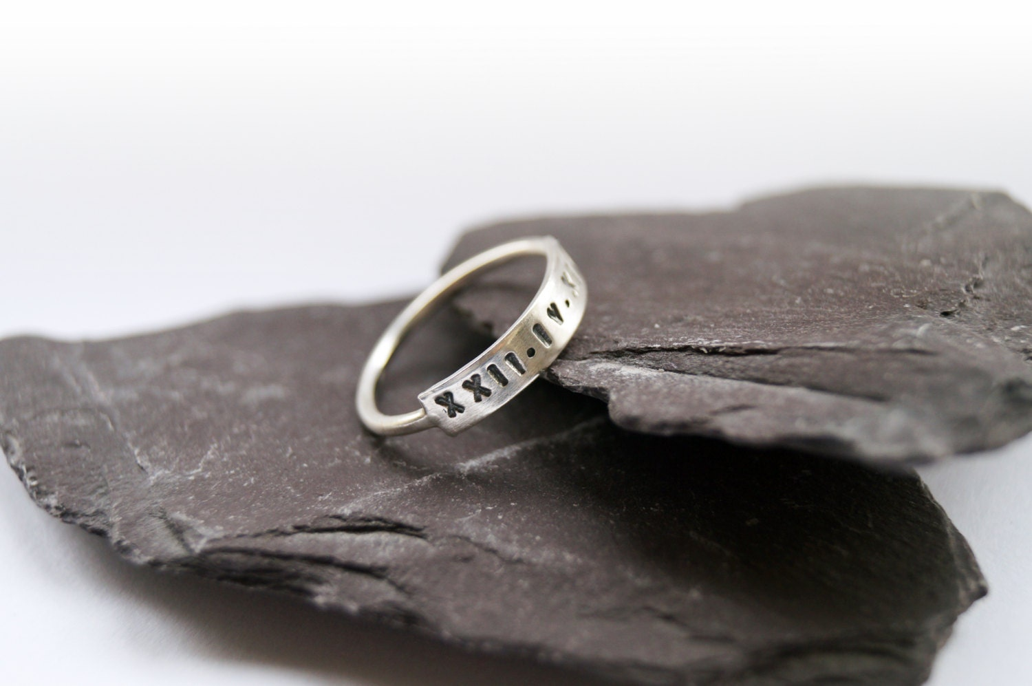 Sterling Silver Stamped Bar Ring  personalized stamped statement custom personalised roman numerals anniversary wedding initials
