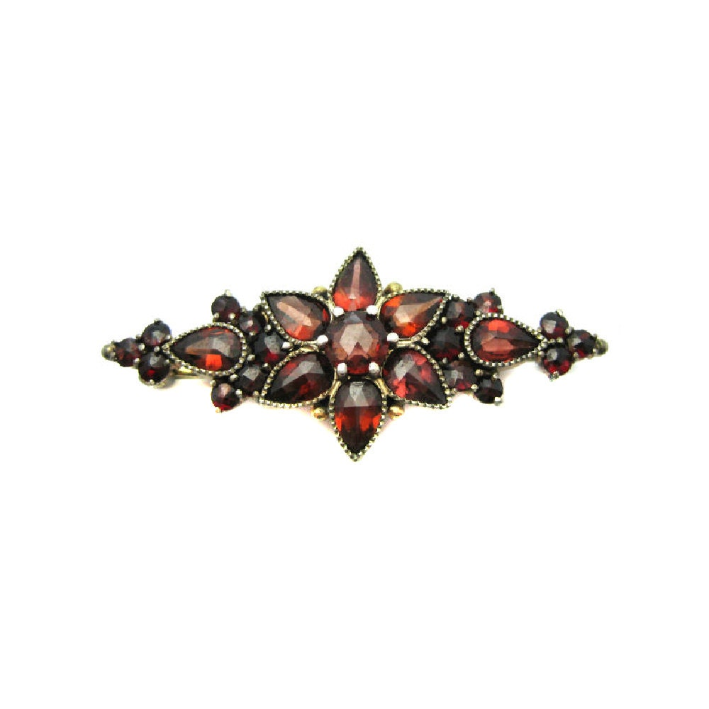 Antique Gold Brooch  Garnet Brooch  Victorian Brooch  Gold Brooch  Antique Pin  Garnet Pin  Victorian Pin  January Birthstone  Pin