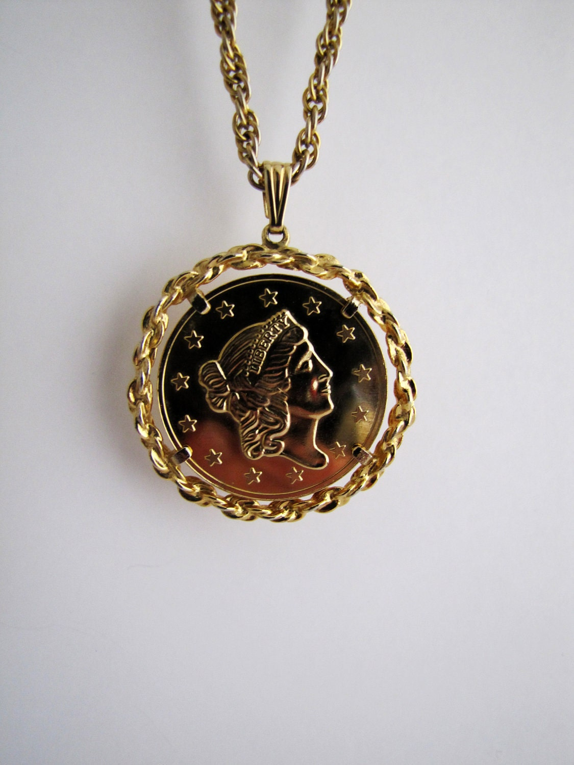 Vintage Bicentennial Gold Coin Necklace By Littlesixty On Etsy