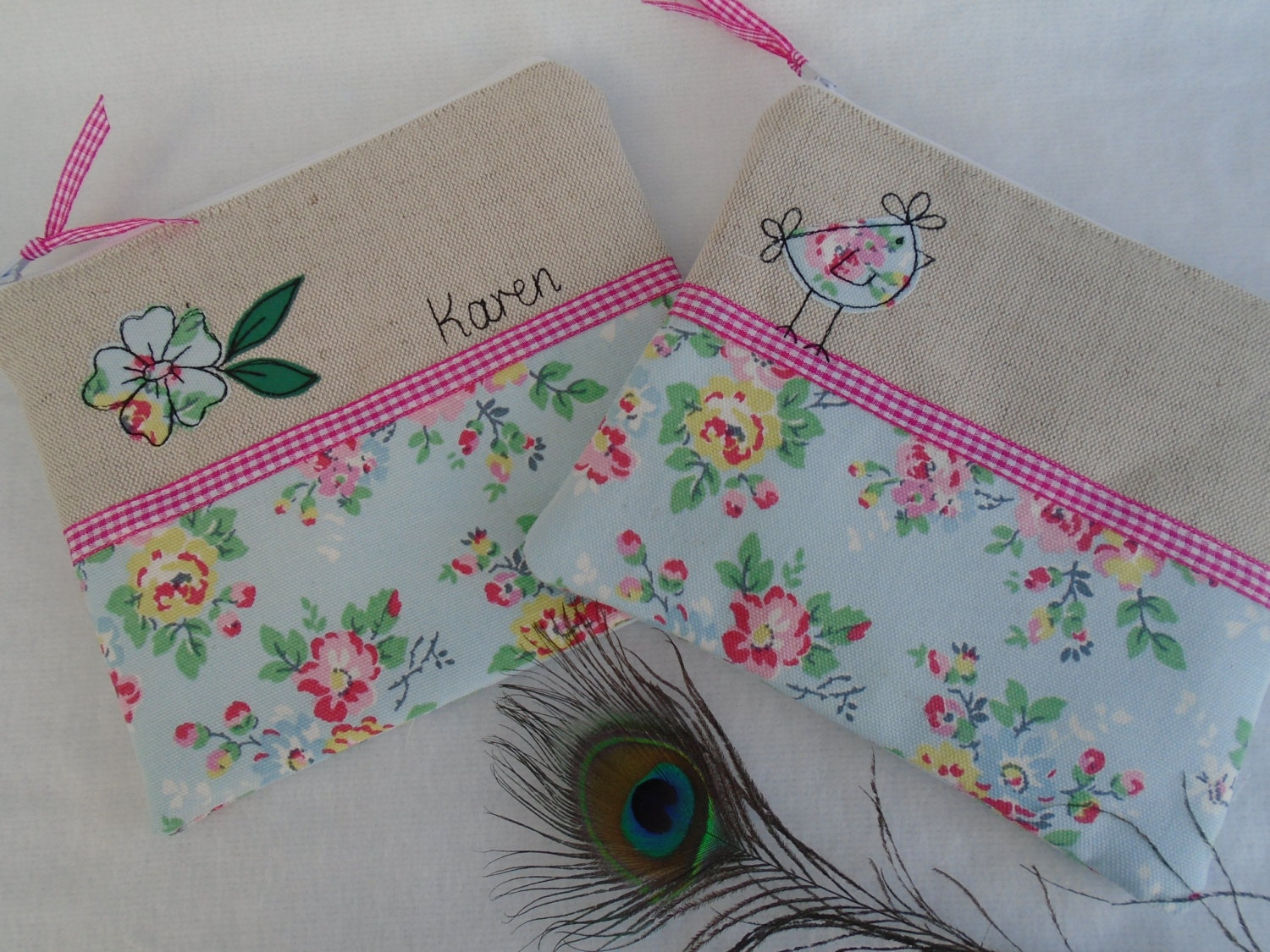 Handmade Small Cosmetic Makeup Bag or Purse with option to personalise Choice of Hen or Flower Applique Cath Kidston Blue Floral fabric