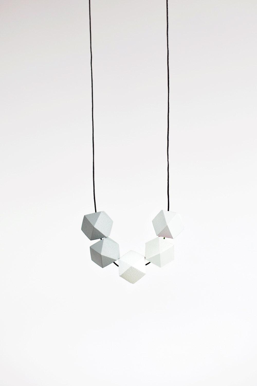 Geometric Necklace / Boho Necklace / Wooden Necklace/  Grey White Necklace - BlueBirdLab