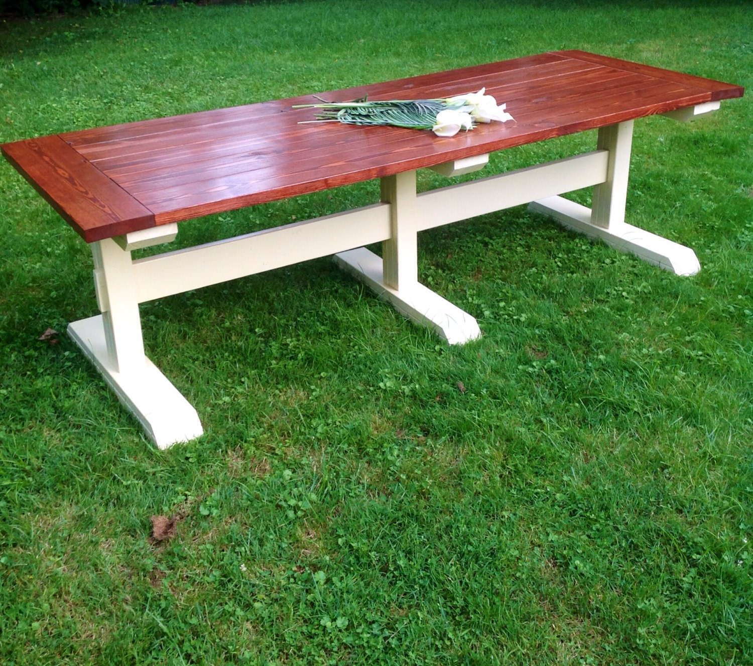 Items similar to Triple Pedestal Farmhouse Table on Etsy
