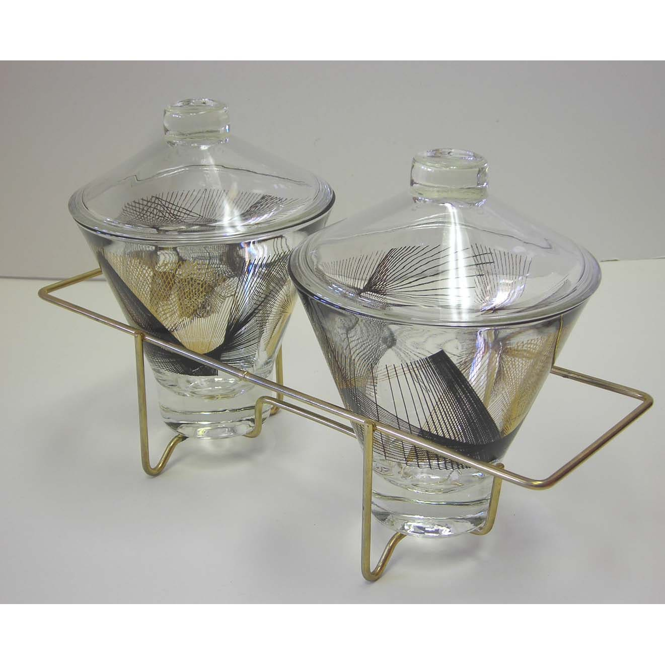 Vintage Mid Century Modern Double Covered Glass Servers With Brass Caddy Atomic - atomickatz