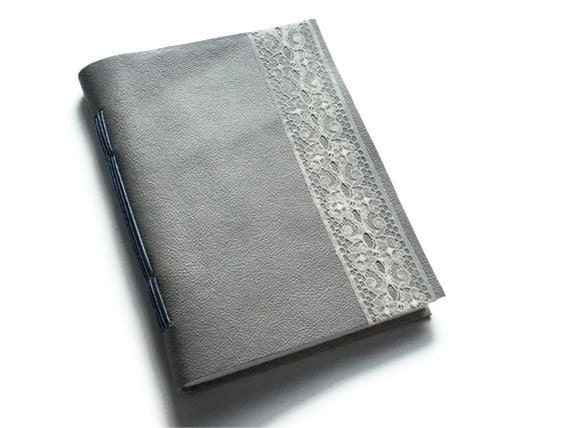 Grey Leather Journal with Lace - Handstitched Handbound Blank Book Notebook - Mothers Day or Easter Gift - Rustic Travel Journal - reneweduponadream