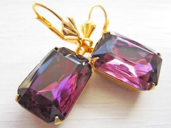 Purple Amethyst Earrings, Purple Earrings, Lilac, Vintage, Bridal Earrings, Bridesmaid, Easter