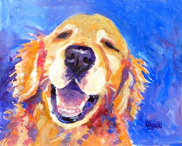 Golden retriever dog art print of original acrylic by for Dog painting artist