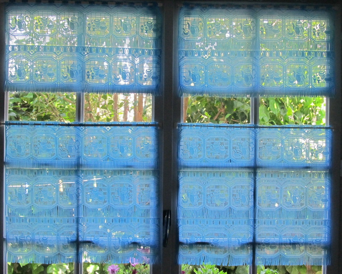 ... Kitchen Curtains, French Lace Tier Curtains, Cafe Curtains, Upcycled