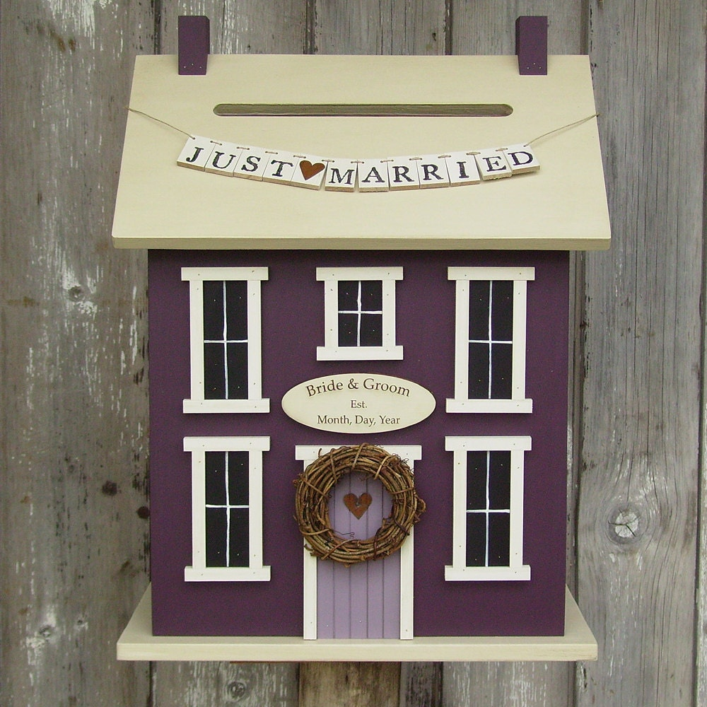 Original  -Wedding Card Box Birdhouse  Personalized - In-Stock