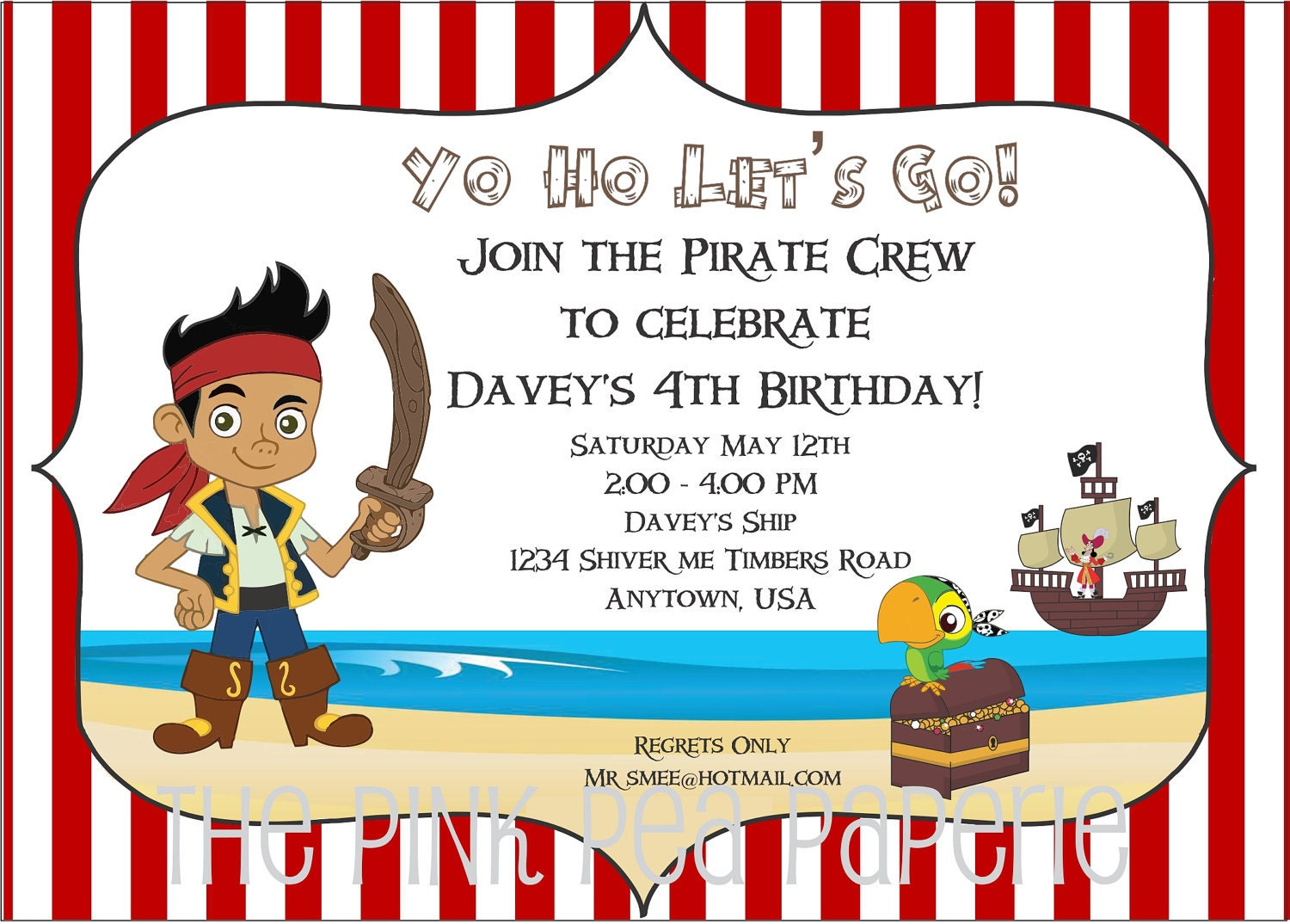 Jake and the neverland pirates party invitations - photo#17