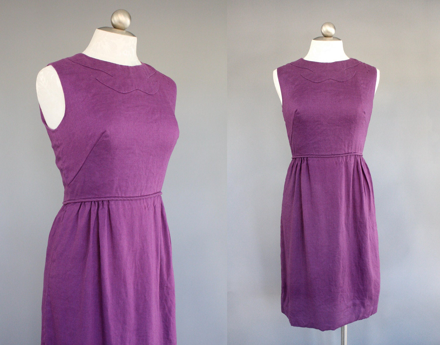 50s - 60s vintage dress in Purple Linen / size small - medium S - M - AnatomyVintage