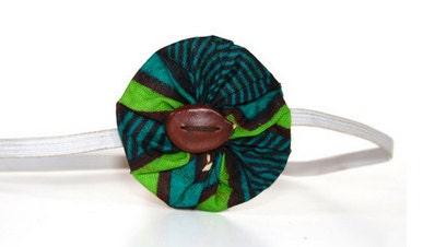 Green Blue Baby Flower Headband Fair Trade African Print Batik FREE Shipping BFH-002 - dsenyo