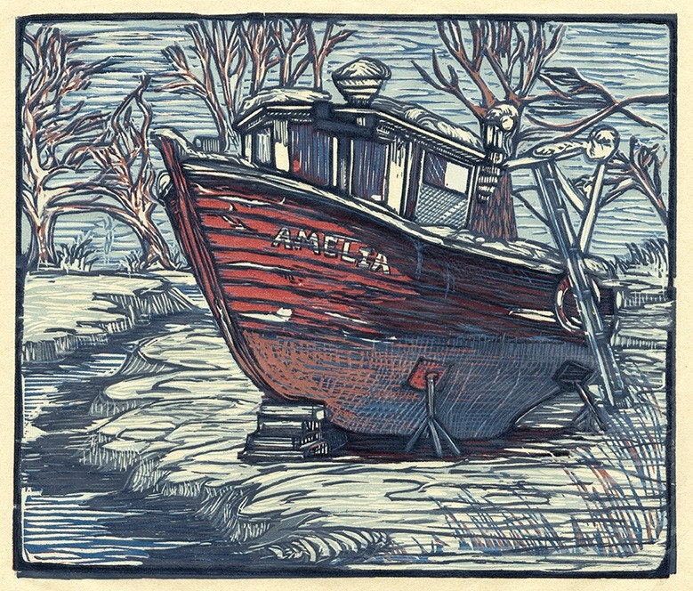 Lobster Boat Amelia (multi-color reduction woodcut) - chickfamilyink