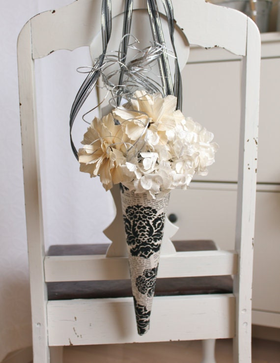 10 Handmade wedding pew decor paper flowers and naturals black and white