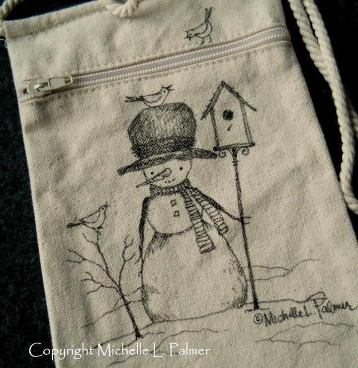Snowman Winter Christmas Birdhouse Sparrow Bird Original Art Illustration on Natural Canvas Bag Tote Purse