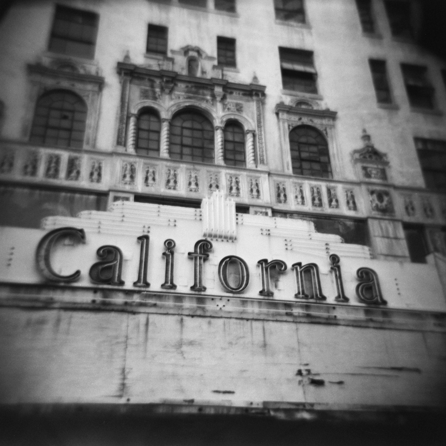 Black and White Photography - 8x8 Fine Art Photo Print - Vintage California Theater