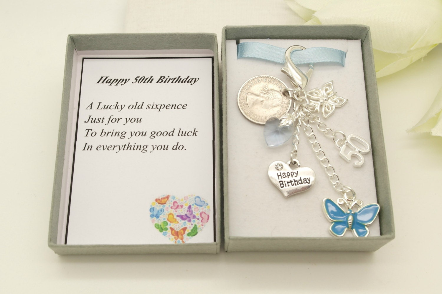 Personalised happy 50th birthday blue butterfly 1967 sixpence charm keyring personalised gift box choice of heart and number charm