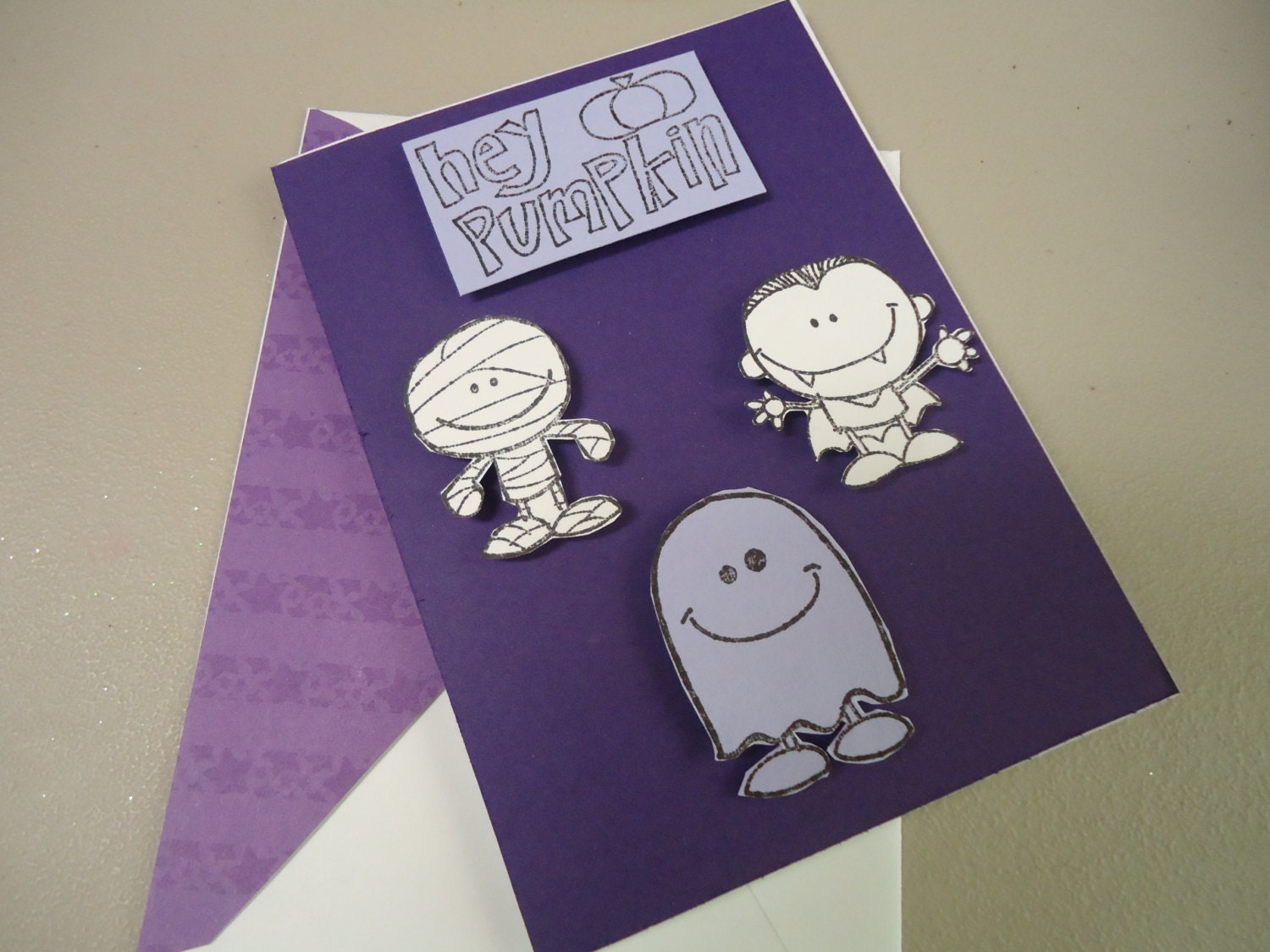 Cute Halloween card, shades of purple, Ghost, Mummy, Dracula - Hand stamped - Child, Friend - GiftsGaloreandMore