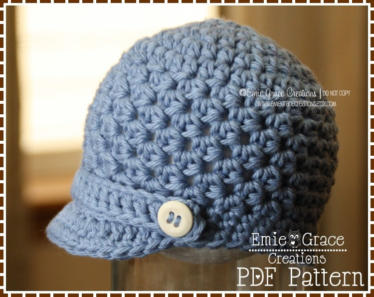 Crochet Newsboy Hat Pattern : Crochet Newsboy Hat Pattern - Textured Brimed Cap - 8 Sizes (Newborn ...