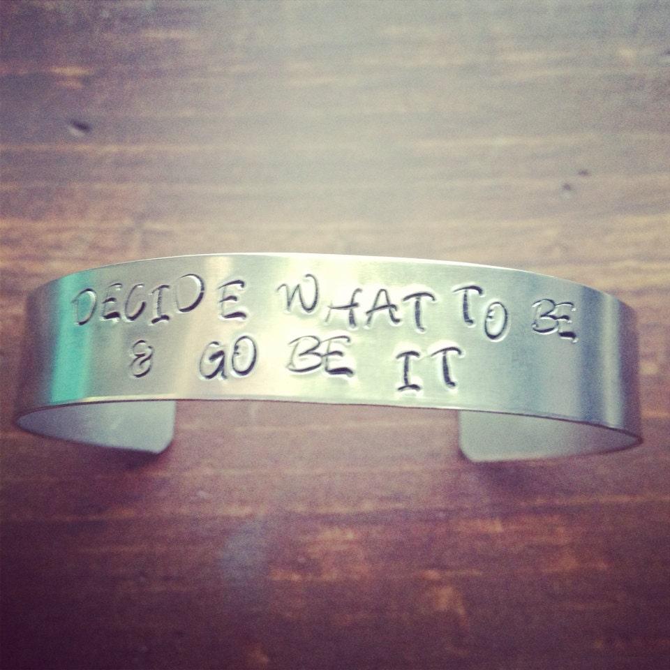 Hand Stamped 1/2 Inch Wide Aluminum Bracelet Cuff