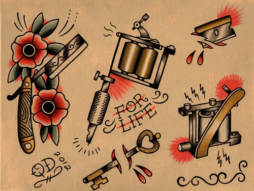razor and tattoo machine flash sheet by parlortattooprints on etsy. Black Bedroom Furniture Sets. Home Design Ideas