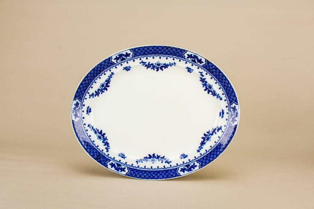 Vintage NeoClassical Serving PLATTER Oval Knowsley Dining F Winkle Co Pottery Blue And White Dish English Circa 1920 LS