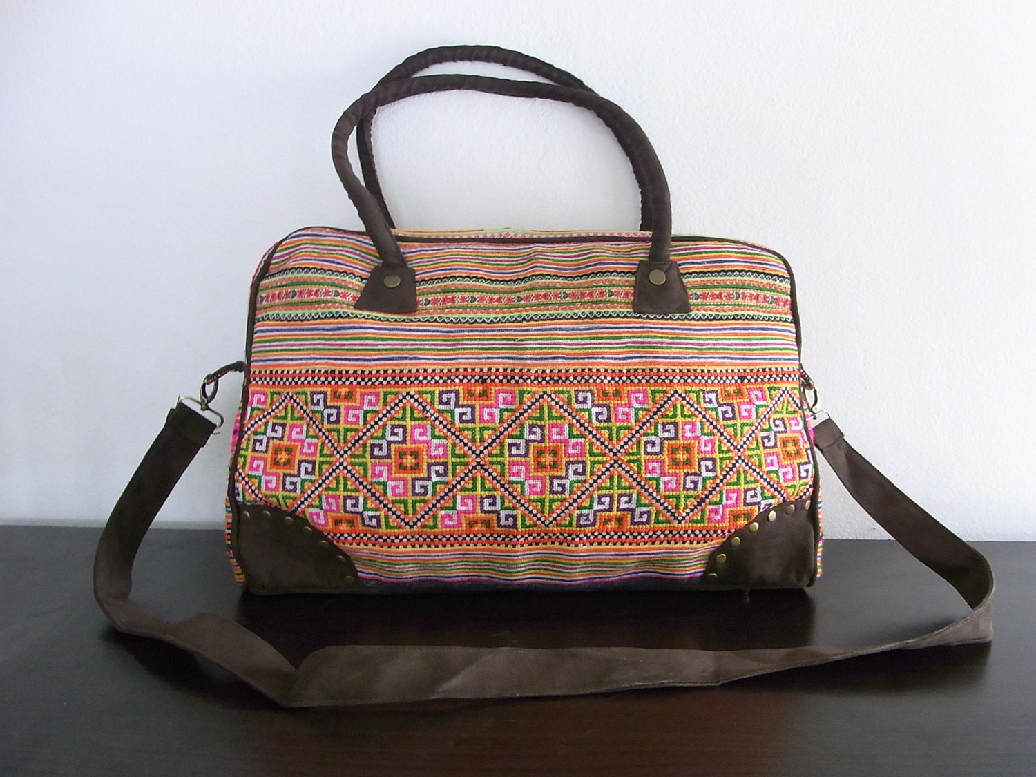 COMPUTER BAG  - Vintage HMONG Bag - Leather Strap - Fair Trade Thailand (506)