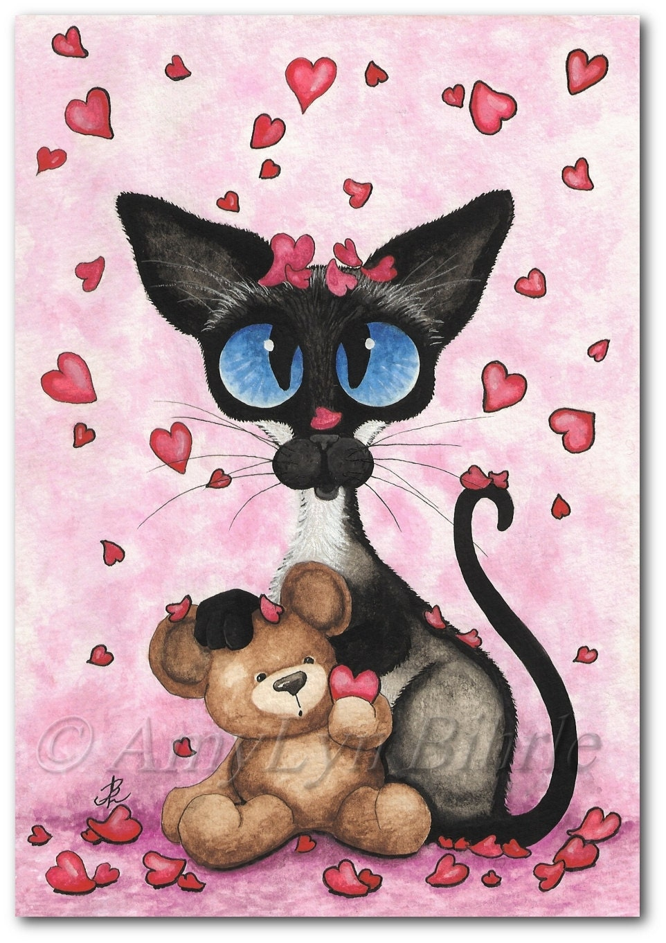 Siamese Cat Valentine Love Be Mine Bear Art Art By