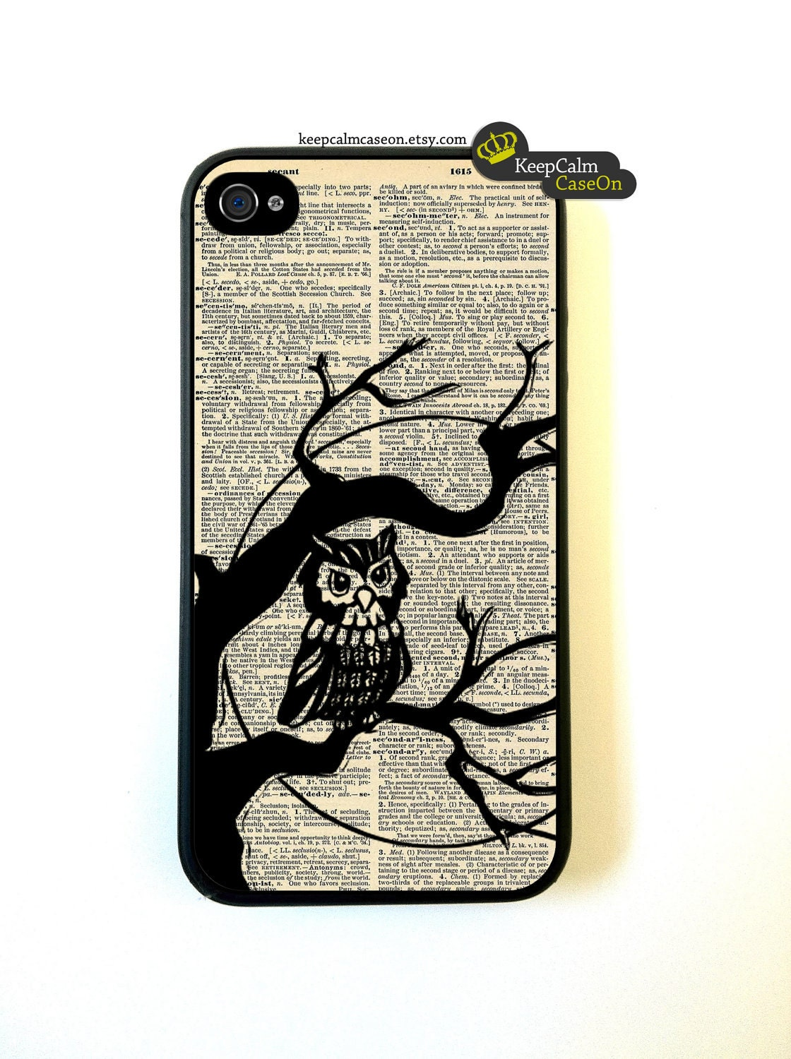 Owl iPhone Case, New Hard Fitted Case For iphone 4 & iphone 4S, Dictionary Art iphone Case