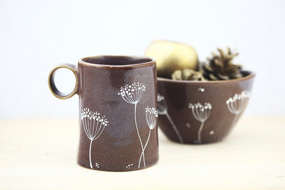 Hand Painted Ceramic Mug Purple Autumn Fall Coffee Mug Queen Anne's Lace  Design Minimal Kitchen Decor - SylwiaGlassArt