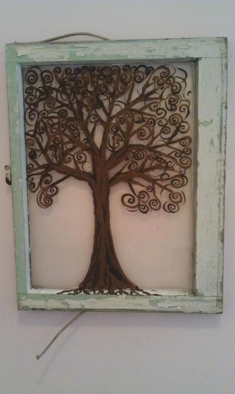 Items similar to acrylic painting tree on glass window on etsy for Painting on glass windows with acrylics