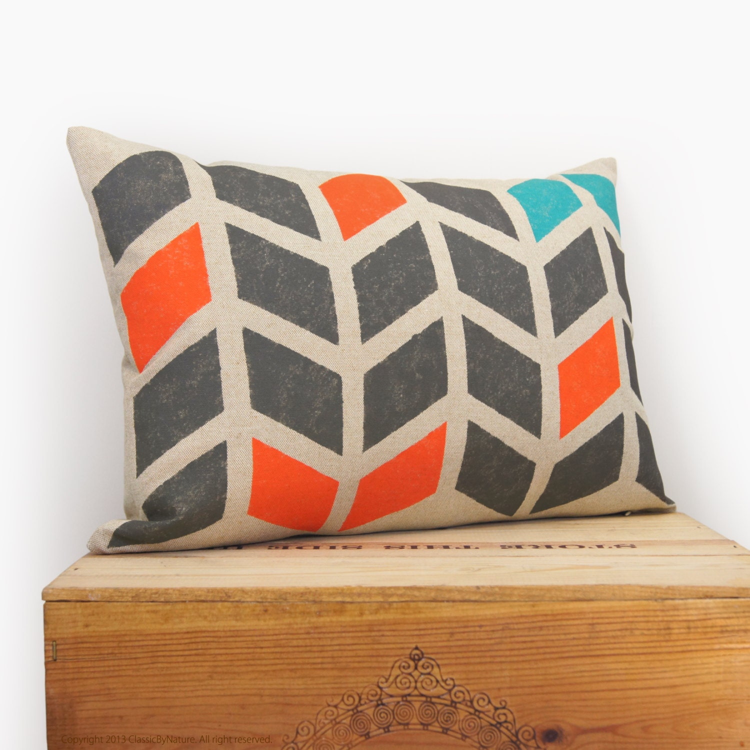 Chevron pillow - Hand printed decorative pillow with graphic arrows pattern in charcoal, orange and teal on beige canvas - 12x18 pillow case - ClassicByNature