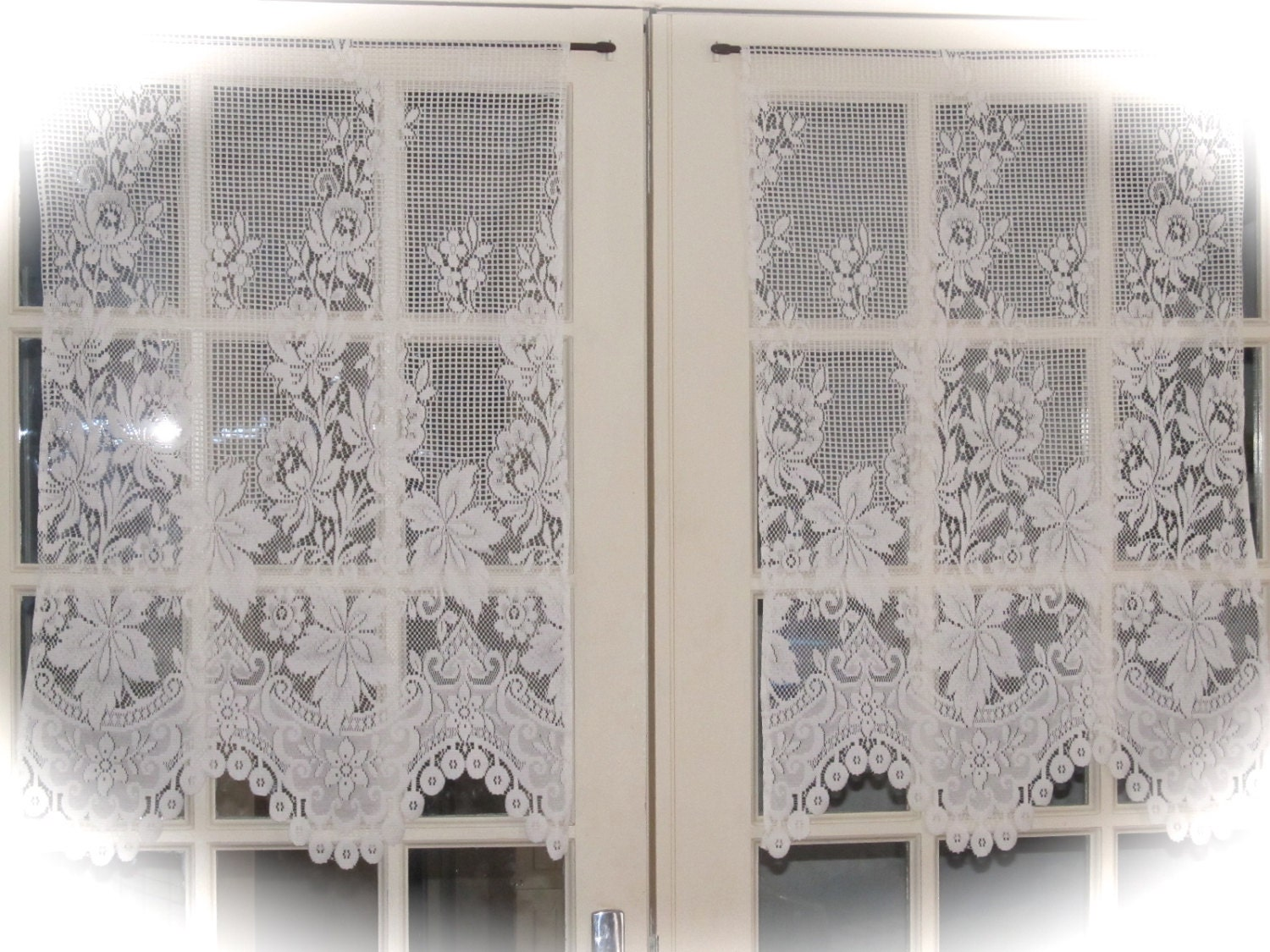 Ivory Cafe Curtains French Lace Kitchen by HatchedinFrance on Etsy