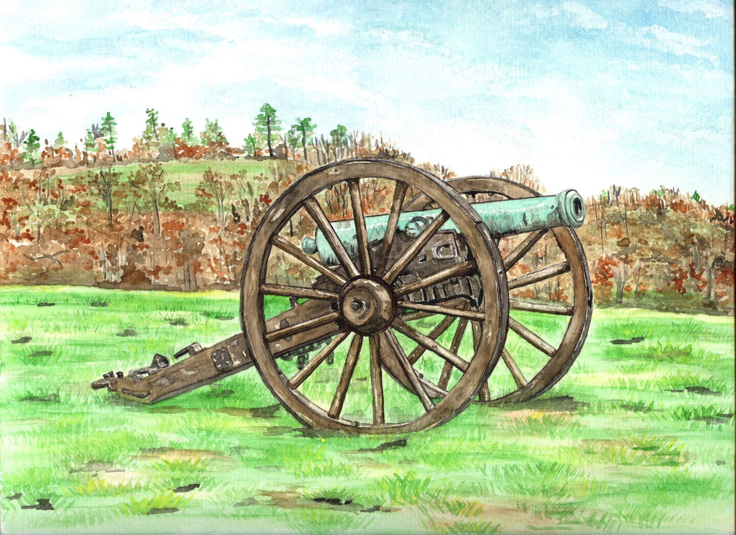 Matted Art Print of Original Watercolor Painting of Civil War Cannon at Antietam Maryland - ValerieNusbaumAandD