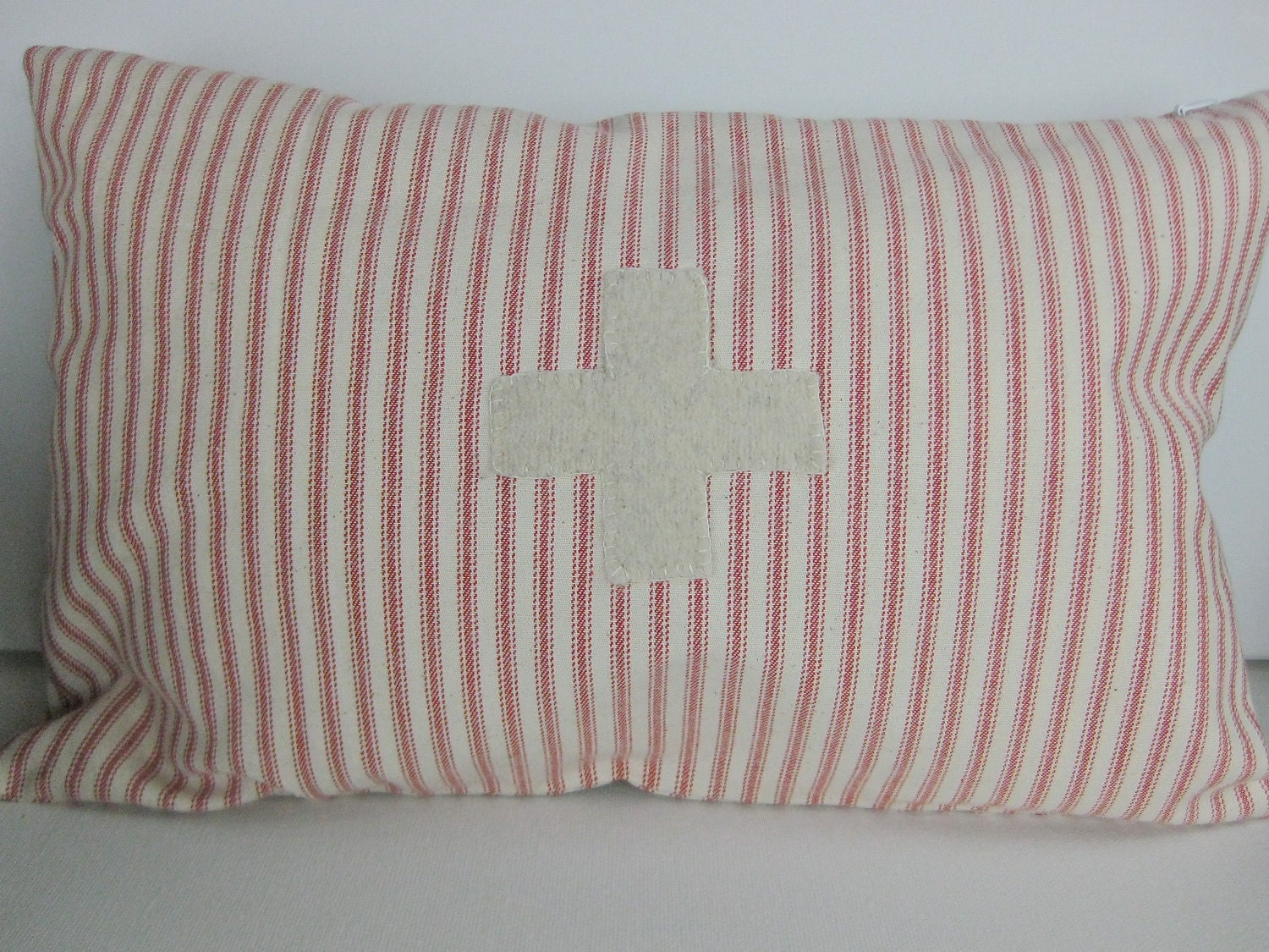 Beautiful Decorative Vintage Looking Swiss Cross Pillow - Cotton Red Ticking & Wool