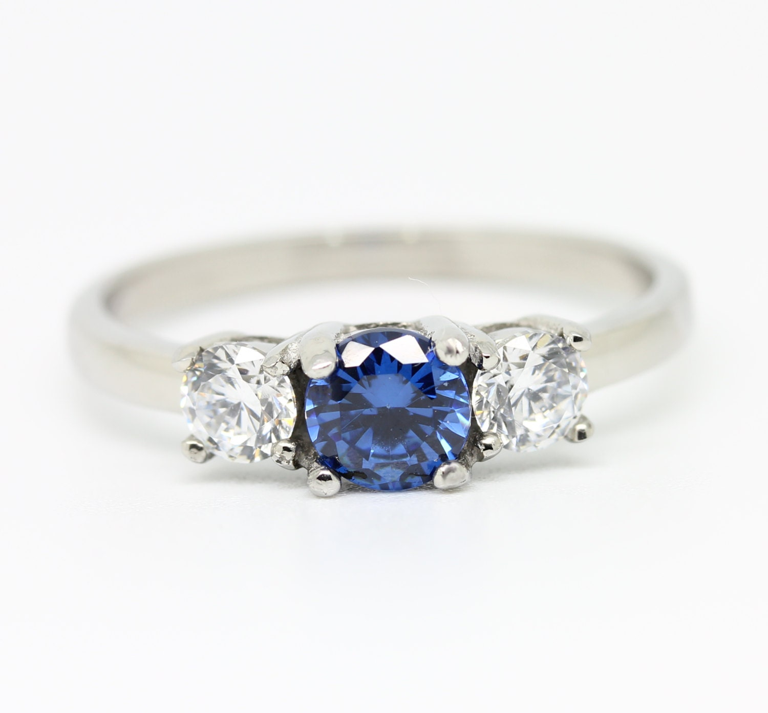 1ct genuine london blue topaz and white sapphire Trilogy ring  Available in Sterling silver or titanium  engagement ring  wedding ring