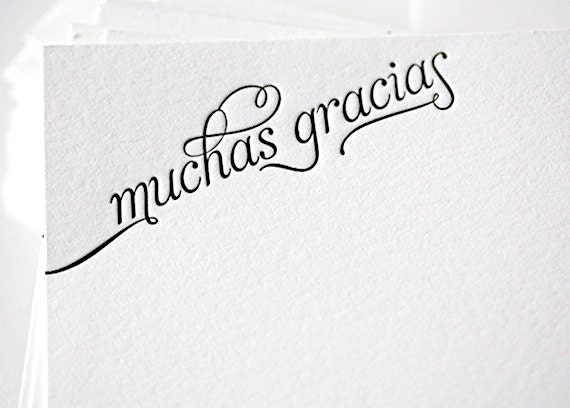 Thank You Notes For Wedding Gifts In Spanish : MUCHAS GRACIASLetterpress Thank You Cards in Spanish