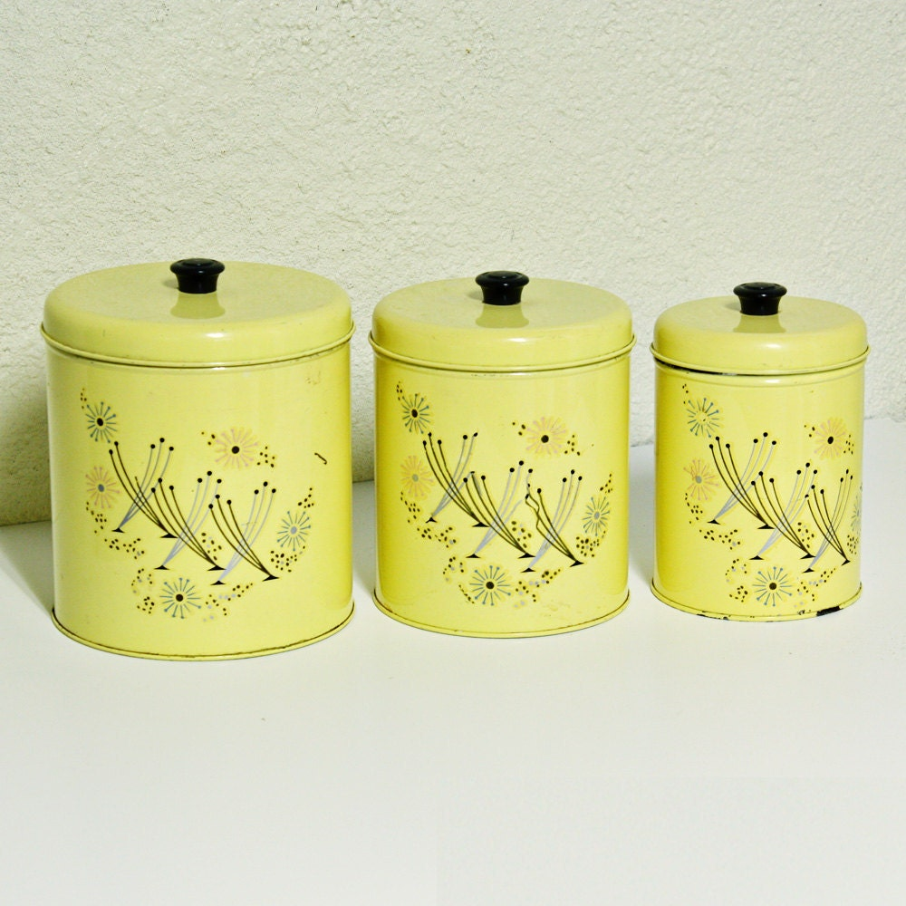 Vintage Canister Set Tins Yellow Retro By OldCottonwood