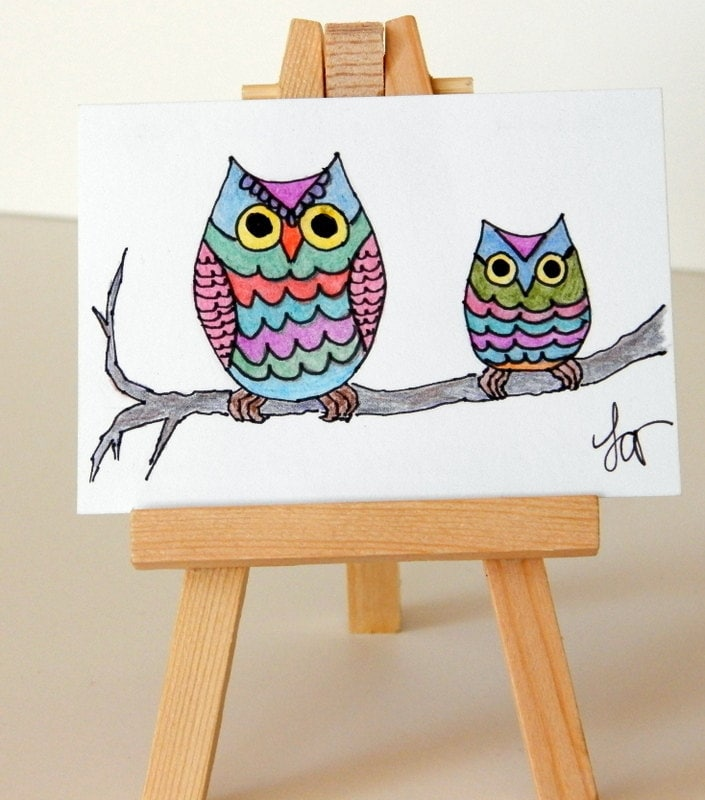 Owl Drawing Color Colorful Owl Drawing