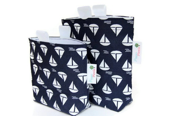 Reusable Sandwich and Snack Bag Set, Gusset Bottom and Finger Tabs, Back to School, Nautical, Navy Blue with White Sailboats - Pepperpicnic
