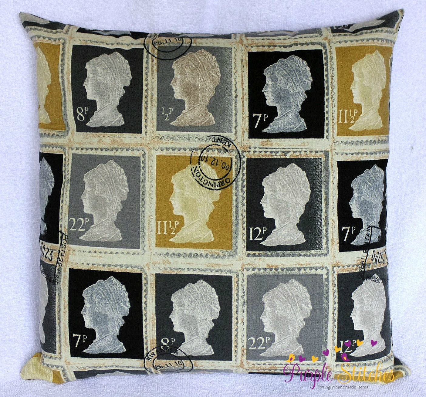 Postage Stamp Throw Pillow Cover 16 x 16 by ThePurpleStitches