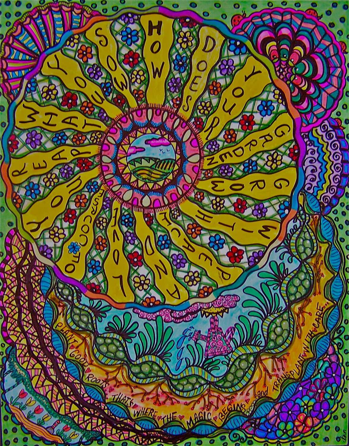 Items Similar To Psychedelic Hippie Art The Garden
