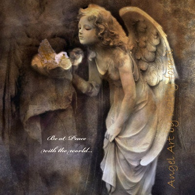 "Angel Art Photography, Child Nursery Decor, Angel Girl With Dove, Whimsical Angel Girl Nursery Photos, Inspirational Angel Art Print 8"" x 8"" - KathyFornal"