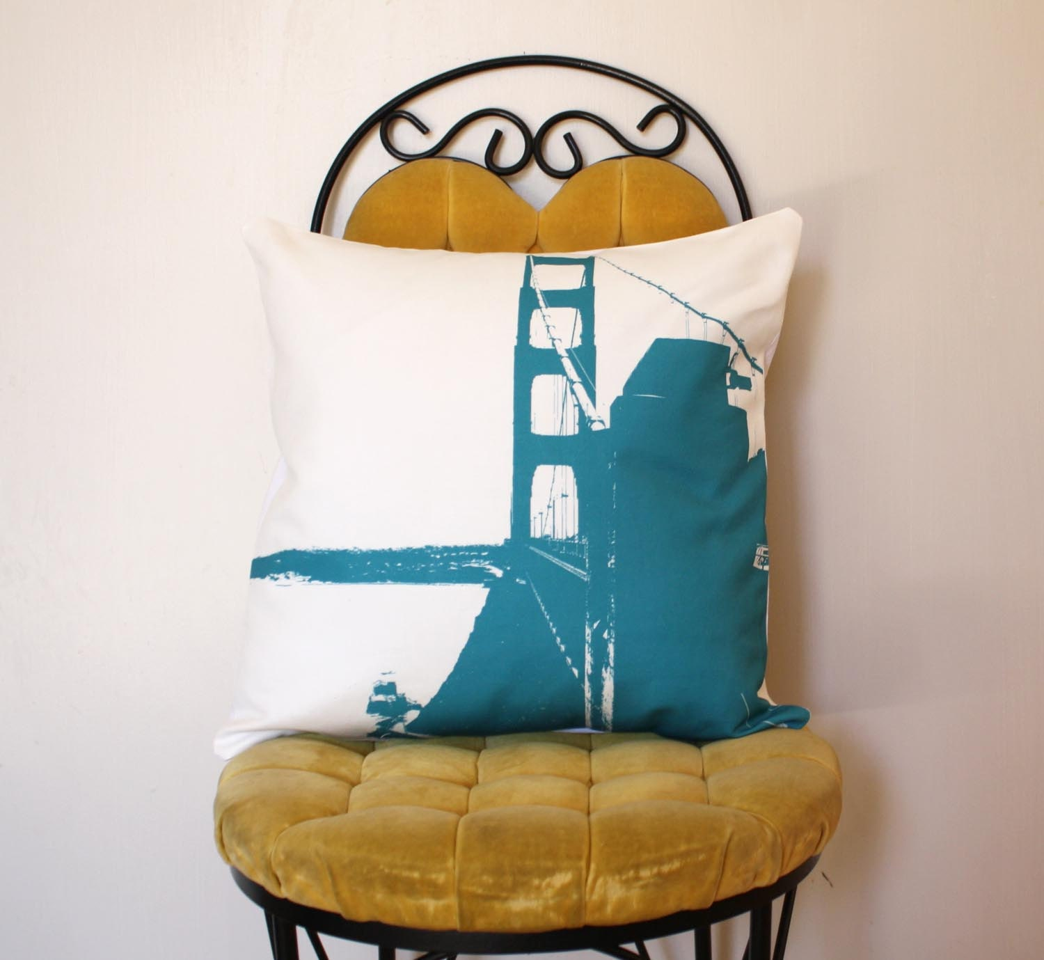 Golden Gate Bridge Pillow - Urban Throw Style no5 - 16 x 16 - Spring Colors - March - NestaHome