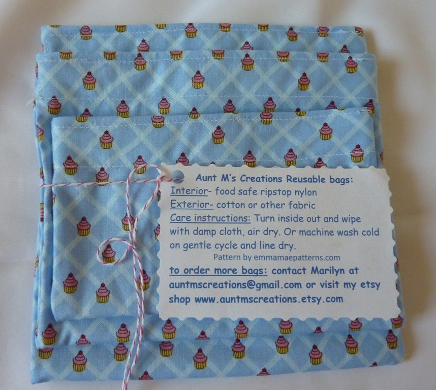 Eco Friendly RE-USABLE BAGS- Set of 3- Cupcakes - AuntMsCreations