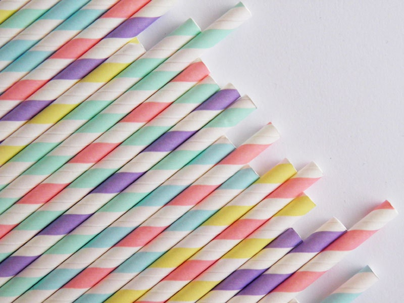 pastel paper straws