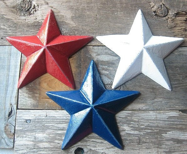 Cast Iron Rustic  Red, White and Blue Wall Hanging Stars/Folk Art/Farmhouse/Texans/USA Olympics - happybdaytome