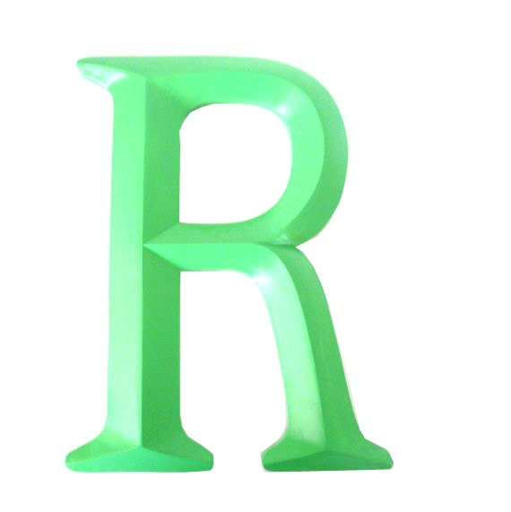 Letter R Typography Home Decor Upcycled Decor Mint By Nashpop